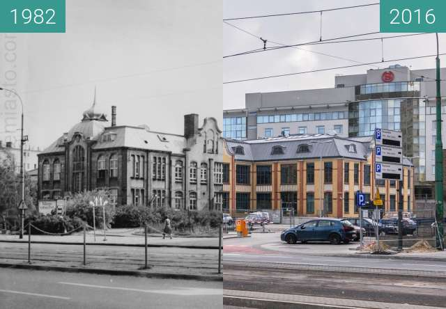 Before-and-after picture of Ulica Zwierzyniecka. Stara drukarnia between 1982 and 2016