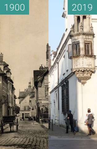 Before-and-after picture of Rue Charbonnet between 1900 and 2019-Mar-23
