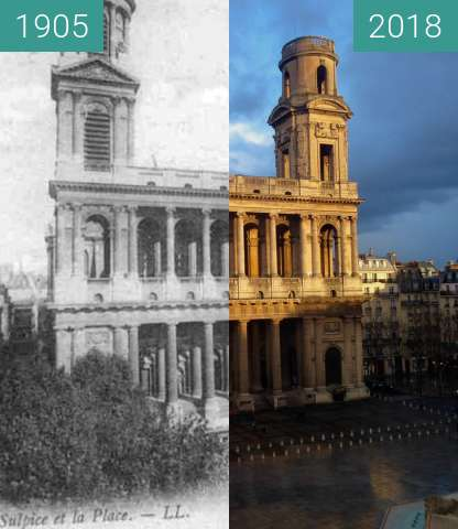 Before-and-after picture of Eglise Saint Sulpice between 1905 and 2018-Jan-16