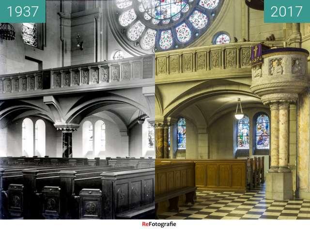 Vorher-Nachher-Bild von Ewangelicki Kościół św. Mateusza w Łodzi - wnętrze zwischen 1937 und 21.03.2017