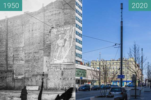 Before-and-after picture of Ulica św. Marcin between 1950 and 2020