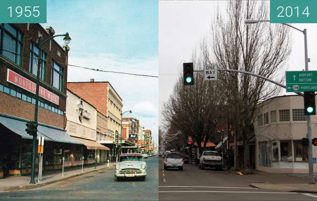 Before-and-after picture of 3rd Street, McMinnville, Oregon between 1955 and 2014-Apr-12