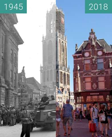 Before-and-after picture of Liberation day vs current state of the city between 1945-May-07 and 2018-Aug-05