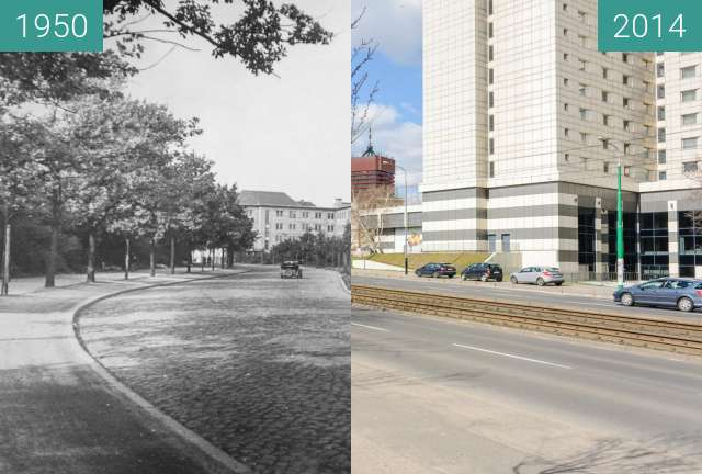 Before-and-after picture of Poznań, ulica Królowej Jadwigi between 1950 and 2014-Aug-12