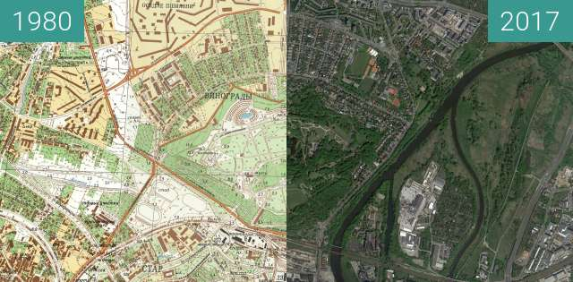 Before-and-after picture of Poznań 1980 - Cytadela between 1980 and 2017-May-12