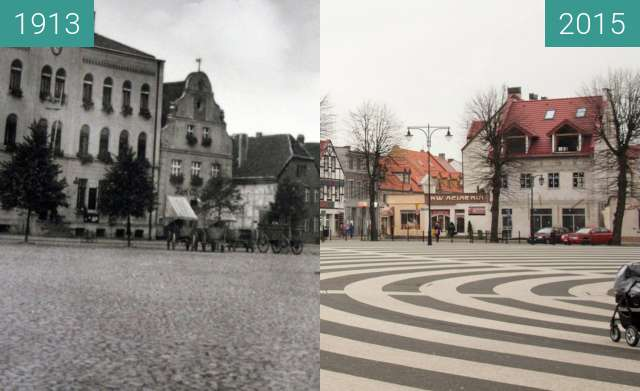 Before-and-after picture of Gryfice, Plac Zwycięstwa between 1913 and 2015