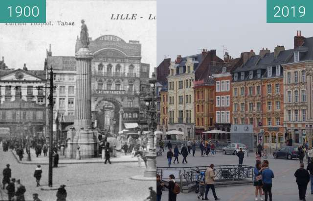 Before-and-after picture of Grande Place (Lille) between 1900 and 2019-Apr-06