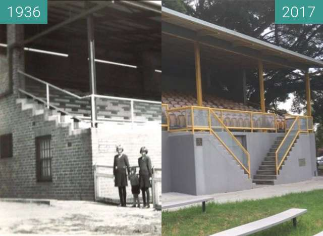 Before-and-after picture of Drummoyne Oval Grandstand between 1936 and 2017