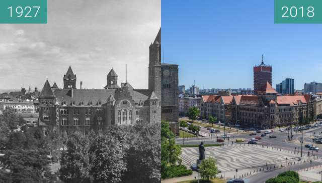 Before-and-after picture of Ulica Św. Marcin between 1927 and 2018
