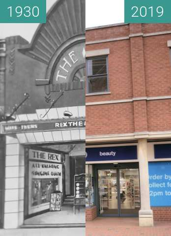 Before-and-after picture of The Rex Cinema between 1930 and 2019-Jun-20