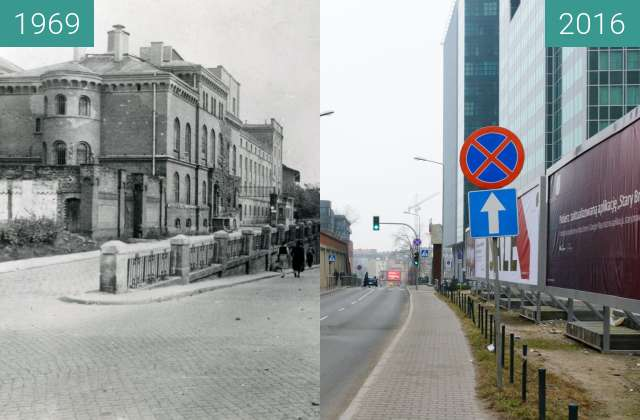 Before-and-after picture of Ulica Kościuszki between 1969 and 2016