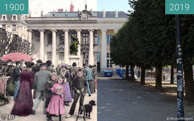 Before-and-after picture of Place de la Bourse between 1900 and 2019-Sep-16