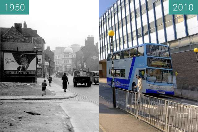 Before-and-after picture of Cox Street, Coventry between 1950 and 2010