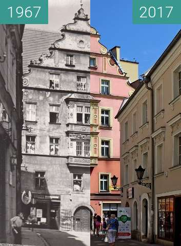 Before-and-after picture of Kłodzko, ulicy Armii Krajowej 6 between 1967 and 2017