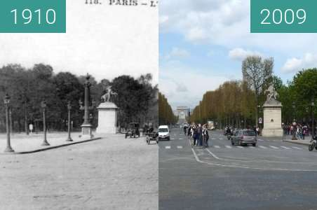 Before-and-after picture of Paris Champs-Élysée between 1910 and 2009