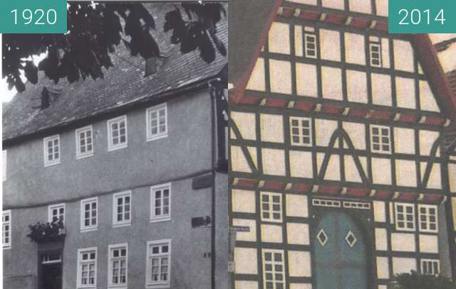 "Before-and-after picture of ""Haus Buuck"" in Rüthen between 1920 and 2014"