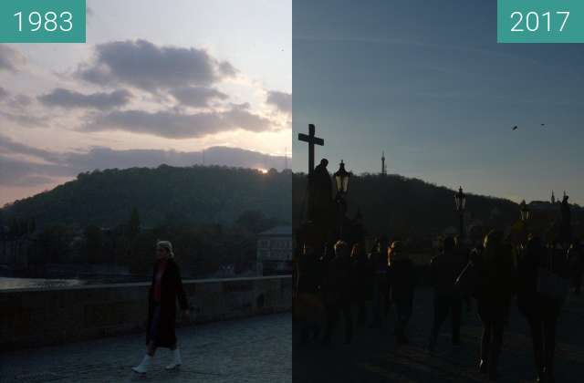 Before-and-after picture of Prag, Karlsrbrücke between 1983 and 2017-Nov-14