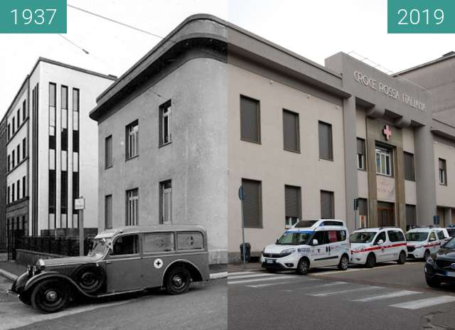 Before-and-after picture of Croce Rossa Italiana Como between 1937 and 2019-May-26