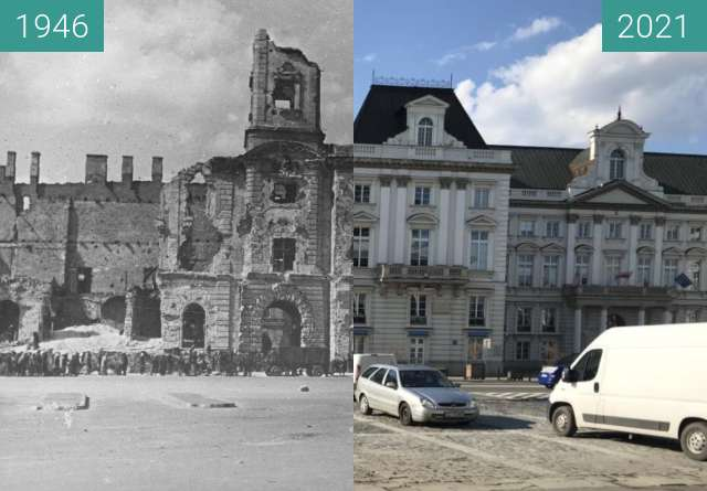 Before-and-after picture of Pałac Jabłonowskich between 1946 and 2021