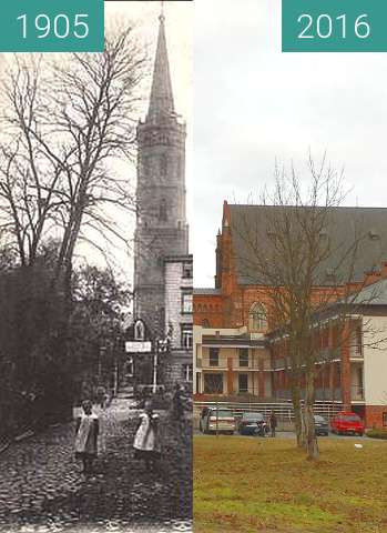 Before-and-after picture of Domkirchestrasse  (prawie Obozowa) between 1905 and 2016