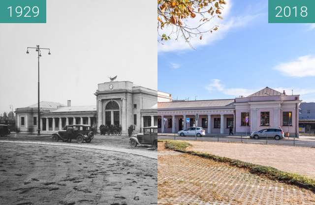 Before-and-after picture of Dworzec Zachodni between 1929 and 2018