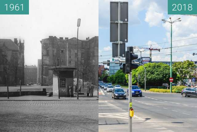 Before-and-after picture of Ulica Małe Garbary between 1961 and 2018-May-22