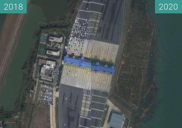 Vorher-Nachher-Bild von Wuhan zwischen 17.10.2018 und 25.02.2020