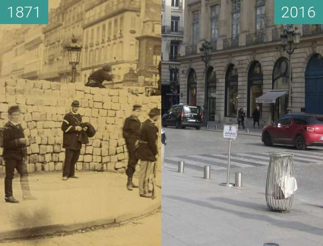 Before-and-after picture of Rue de la Paix (Paris Commune) between 1871 and 2016-Feb-27