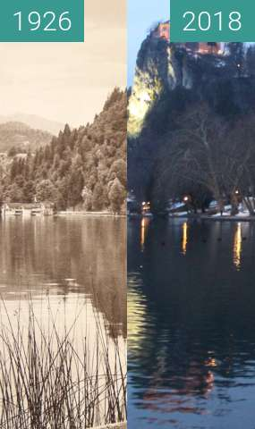 Before-and-after picture of Bled Castle, Slovenia, 1926 between 1926 and 2018-Feb-17