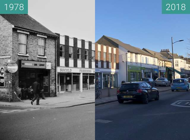 Before-and-after picture of Mill Road, Cambridge between 1978 and 2018-Jan-07