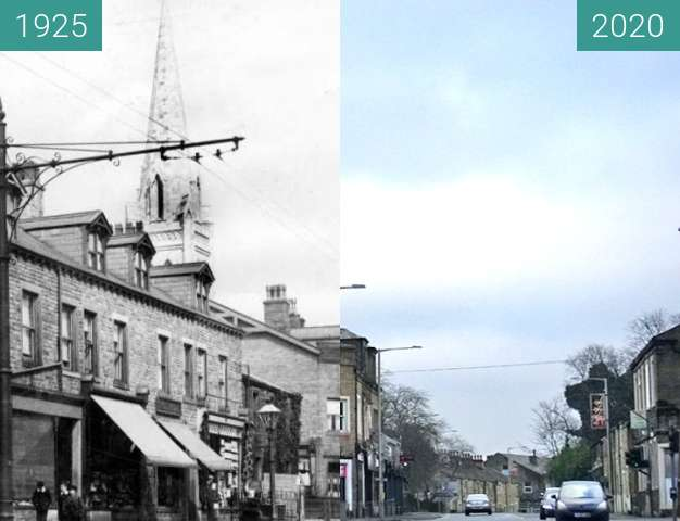 Before-and-after picture of Manchester Road, Nelson, Lancashire between 1925 and 2020-Jan-01