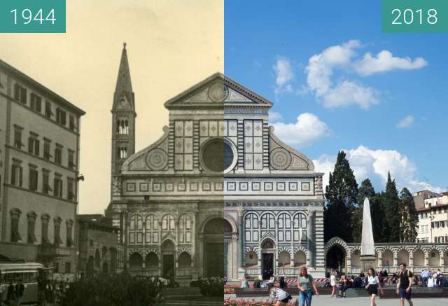 Before-and-after picture of Florence, Italy 1944/2018, Santa Maria Novella between 07/1944 and 2018-May-18
