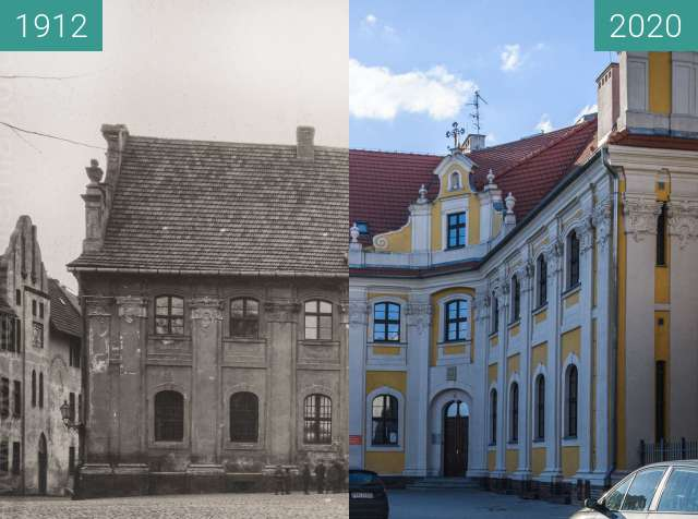 Before-and-after picture of Ulica Filipińska between 1912 and 2020-Apr-04