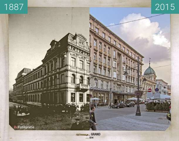 Before-and-after picture of Grand Hotel in Lodz between 1887 and 2015