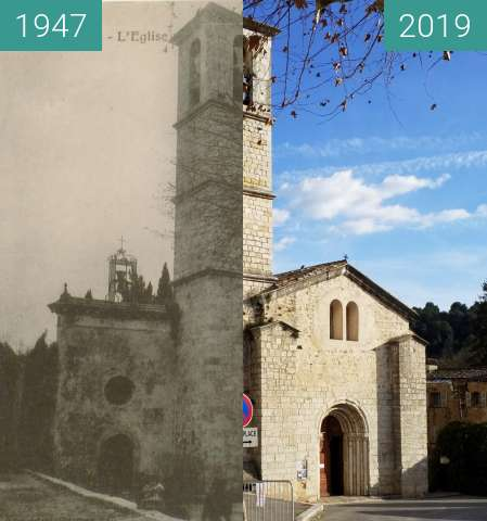 Before-and-after picture of Abbaye de Valbonne village between 1947 and 2019-Jan-18