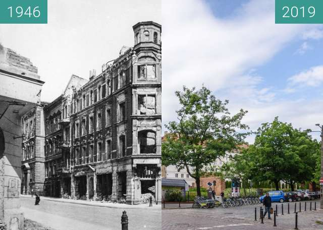 Before-and-after picture of Ulice 23 Lutego-Masztalarska between 1946 and 2019-May-23