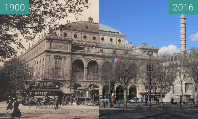 Before-and-after picture of Théâtre du Chatelet between 1900 and 2016-Feb-19