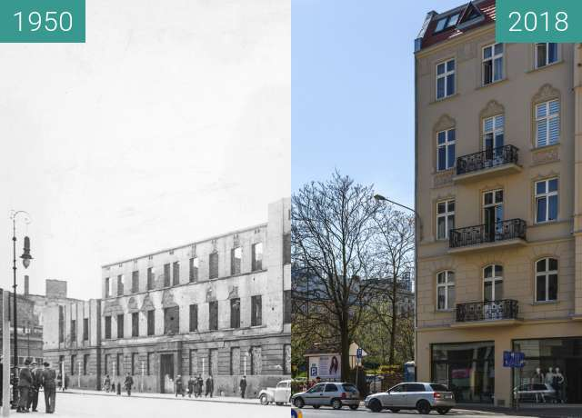 Before-and-after picture of Ulica Ratajczaka between 1950 and 2018