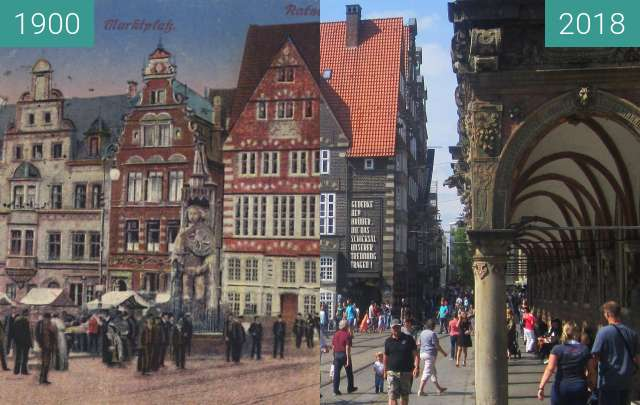Before-and-after picture of Bremen Market Square between 1900 and 2018-Aug-18