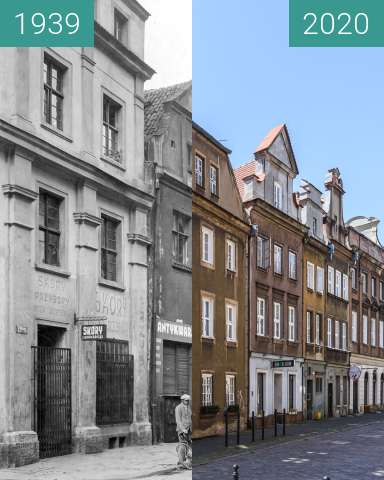 Before-and-after picture of Ulica Woźna between 1939 and 2020