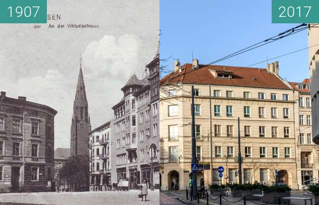 Before-and-after picture of Ulica Fredry, Hotel Monopol between 1907 and 2017
