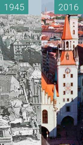 Before-and-after picture of Bombing of Munich between 1945 and 2016