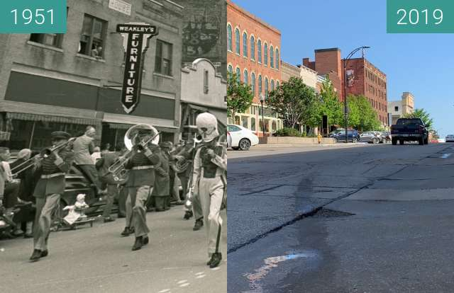 Before-and-after picture of 700 Block of Mass between 1951 and 2019-May-06