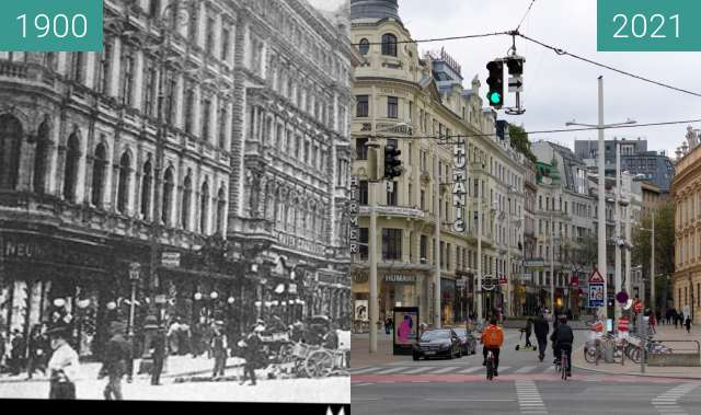 Before-and-after picture of Mariahilferstraße between 1900 and 2021-May-02