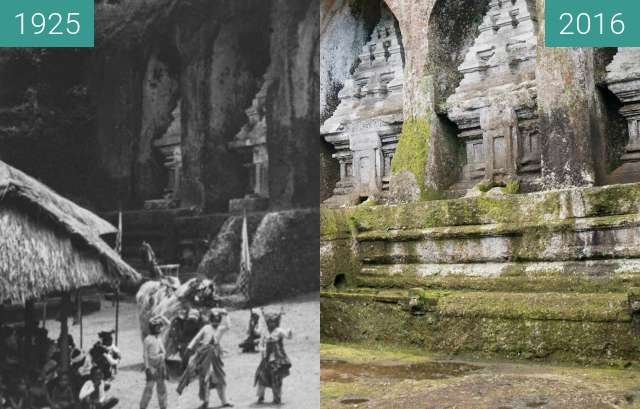 Before-and-after picture of Barong Dance at East Side of Pura Gunung Kawi between 1925 and 2016-Jun-15