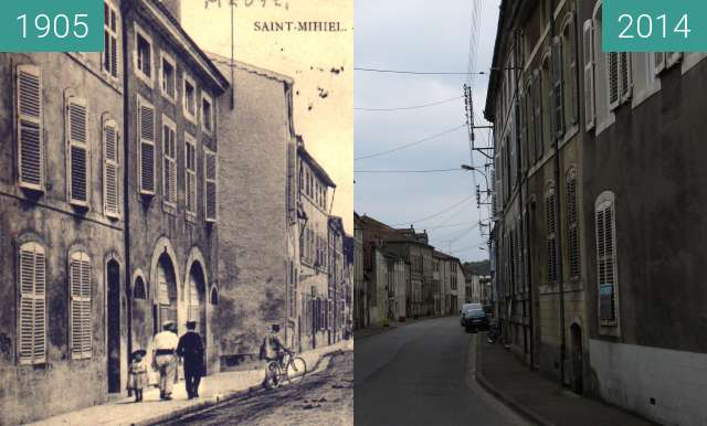 Before-and-after picture of Rue larzilliere-beudant between 1905 and 2014-Apr-19