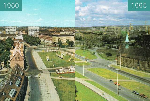 Before-and-after picture of Szczecin between 1960 and 1995