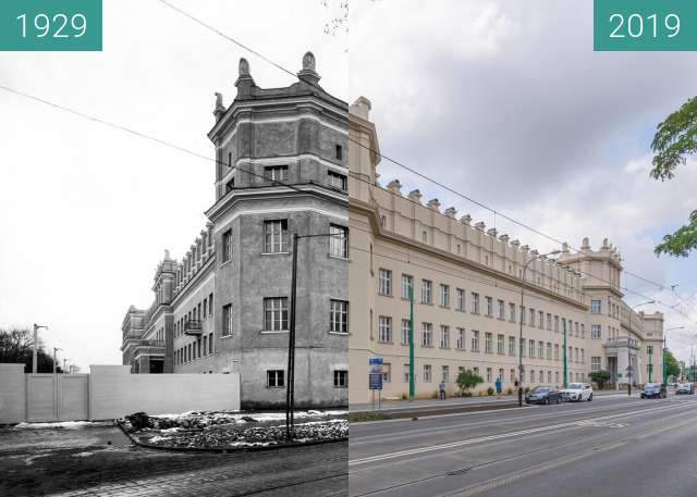 Before-and-after picture of Ulica Grunwaldzka, Collegium Chemicum/Heliodori between 1929 and 2019