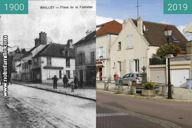 Before-and-after picture of Boulangerie Baillet-En-France between 1900 and 2019