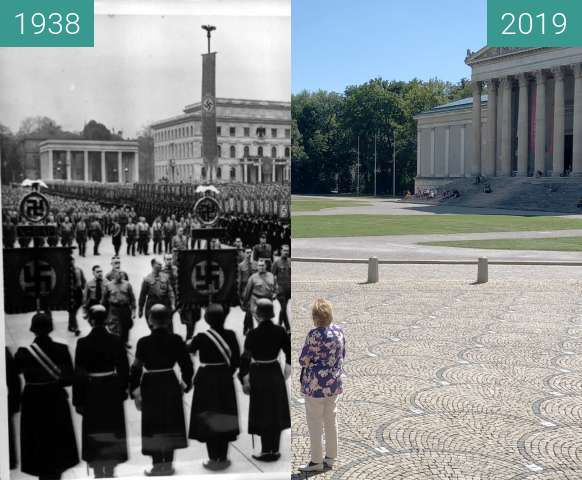 Before-and-after picture of Hitler am Königsplatz, 9.11.1938 between 1938-Nov-09 and 2019-Sep-04